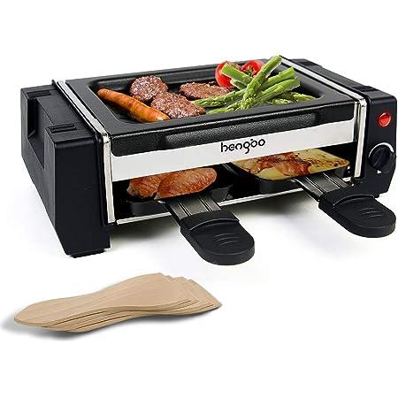 HengBo Mini Raclette avec 2 Poêles, Double Couche de Appareil à Raclette, Plaque de Gril Antiadhésive Amovible pour un Nettoyage Facile, Température réglable, 500W - Noir