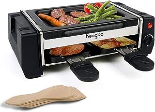 HengBo Mini Raclette avec 2 Poêles, Double Couche de Appareil à Raclette, Plaque de Gril Antiadhésive Amovible pour un Net...