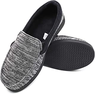 Mwfus Men's Comfy Memory Foam Moc Slippers Breathable Cotton Knit House Shoes Indoor Outdoor