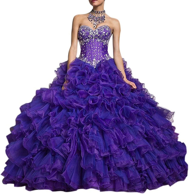 Dearta Women's Ball Gown Sweetheart Floor Length Organza Quinceanera Dresses
