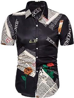 neveraway Mens Slim-Fit Summer Floral Print Buttoned Beach Short-Sleeve T-Shirt