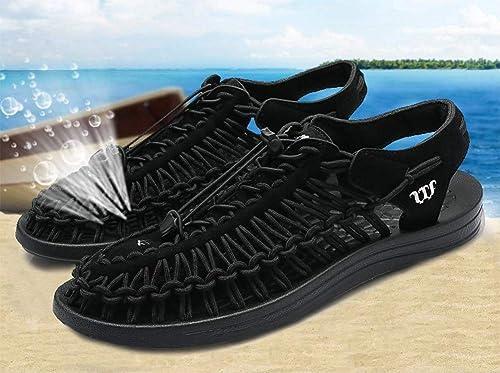 AISHUAIGE Handgestrickte Sandalen atmungsaktive Sandalen Mesh-Sandalen, Herren-Outdoor-Sportarten, Sommerfreizeit-Strandsport, Wandersandalen