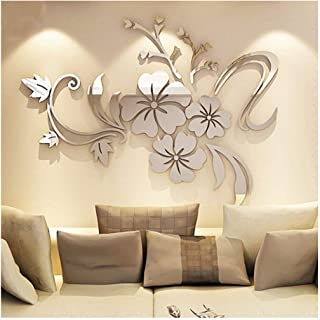YINGYUAN 1 Piece Set Acrylic Art 3D Mirror Flower Wall Sticker DIY Home Wall Decal Decoration Sofa TV Wall Removable Wall Sticker 120X90cm (Silver) … (Sliver)