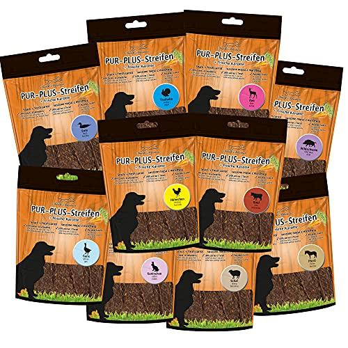 Pur Plus Bandes Pack d'essai 10 différentes variétés – 1 paquet avec 100 g de vachette comme PFERD, chevreuil, oie, et ainsi de suite
