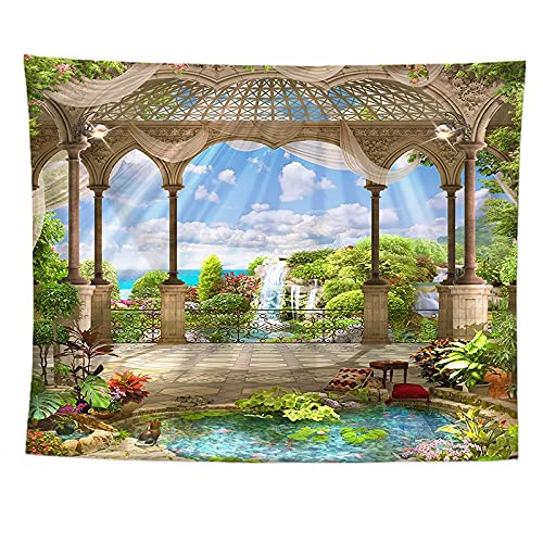 Tapiz de pared de vacaciones con balcón europeo Vintage, tela de fondo de paisaje Natural, manta de pared decorativa bohemia A4 150X200CM