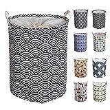 Y-Step Cesta de lavandería redonda, de algodón y forro interior impermeable, plegable, con cordón, grande, 45 cm