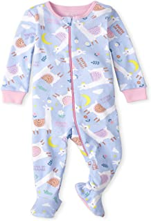 The Children's Place baby-girls Baby And Toddler Girls Llama Snug Fit Cotton One Piece Pajamas Baby and Toddler Sleepers