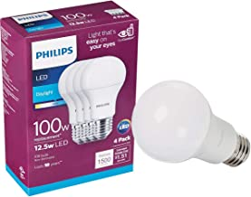 Philips LED 542976 Non-Dimmable A19 Light Bulb: 1500-Lumen, 5000-Kelvin, 15 (100 Watt Equivalent), E26 Base, Daylight, 4-P...