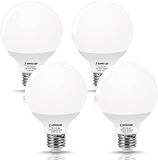 LOHAS LED G25 Globe Bulb 60W Equivalent, Bathroom Vanity Round LED Light Bulb 9W 800LM Warm White 2700K, E26 Base Make up Light, G25 Globe Light Bulbs Bathroom Kitchen for Decorative Light, 4 Pack