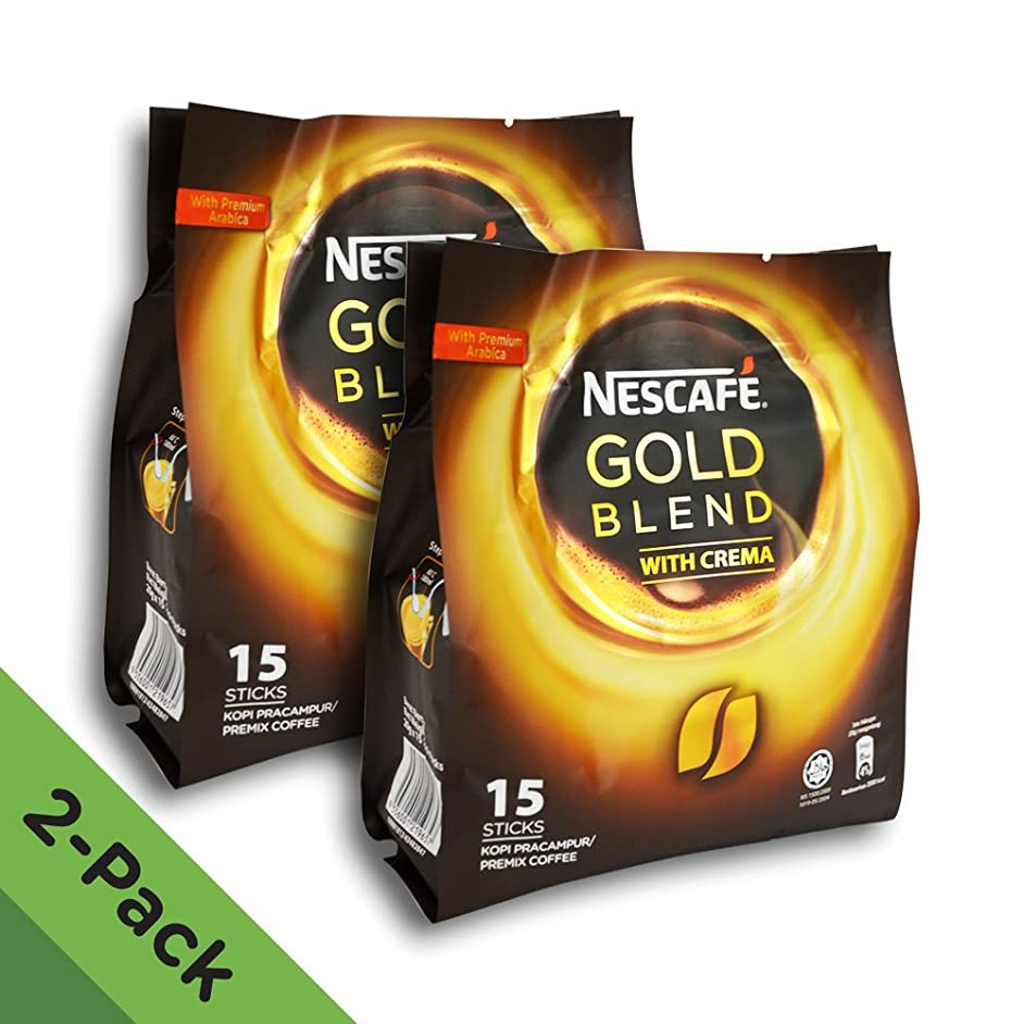 2 Pack - Nescafe Gold Blend 3-in-1 Instant Coffee (30 Single Serve Sticks Total) - Made with Premium Grade Fine Coffee Beans with Cream and Sugar - Imported from Nestle Malaysia