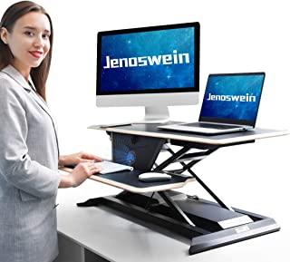 JENOSWEIN Electric Height Adjustable Standing Desk Converter with Built in USB Port & Wireless Charger 36