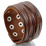 JewelryWe Grande Pulsera de Cuero Hombre, Ajustable con Hebillas,...