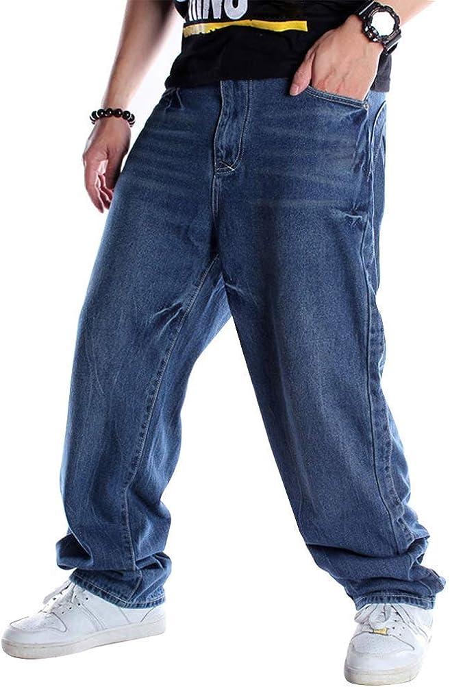 Ylingjun Mens Baggy Hip Hop Jeans Casual Loose Fit Embroidered Skateboard Denim Pants