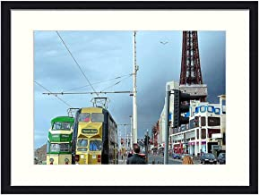 OiArt Wall Art Print Wood Framed Home Decor Picture Artwork(24x16 inch) - Blackpool Trams Pleasure Beach Transportation