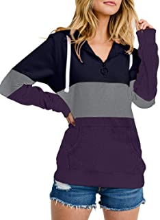 Womens Long Sleeve Color Block Knited Pullover Drawstring Hoodies Sweatshirts Casual Tunic Tops