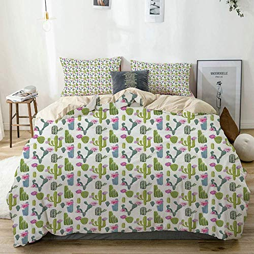 Duvet Cover Set Beige,Saguaro San Pedro Cactus Rebutia Floral Desert Wilderness Pattern,Decorative 3 Piece Bedding Set with 2 Pillow Shams Easy Care Anti-Allergic Soft Smooth