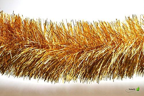 3m Weihnachtsgirlande 15cm gold // Silvester Karneval Weihnachten Deko Christbaumschmuck Girllande Weihnachtsbaum Lametta 150mm