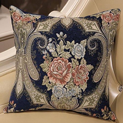 ZUOANCHEN Coussin Luxe Européenne Magnifique Luxe Chenille Plantes Fleurs Américain Salon Maison Tissu Lit Oreiller avec Oreiller 45 * 45 CM (Couleur : Bleu)