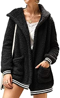 neveraway Womens Hoodie Cardigan Open Front Warm with Pockets Fall Winter Jacket Coat
