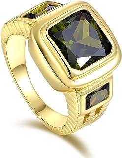 للرجال خاتم عيار 18 مطلي بالذهب الأصفر - أخضر زيتوني قطع زبرجد حجر كريم مقاس US 9