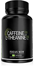Caffeine 100mg L-Theanine 200mg – 90 V-Capsules Taken for Better Focus Energy Mood Wakefulness Estimated Price : £ 21,65