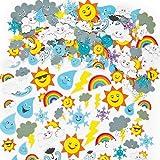 Pegatinas de Espuma con Diseños del Tiempo Atmosférico (Paquete de 96) Para decorar tarjetas, cuadernos, manualidades y collages infantiles
