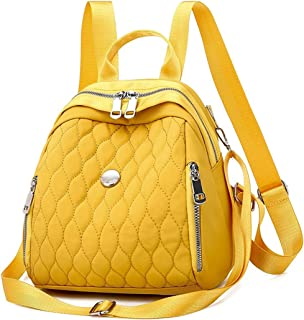 Caixiaoting Lady Backpack, Oxford Cloth Raincoat Travel Bag,Diamond Check Student Bag Multi Pocket Shell Bag (Color : Yellow)