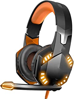 Ps4 headphones Noise Reduction Wired LED Light Stereo For Box One PS4 PC Stereo Gaming Headset xbox headsets (Color : Yellow)