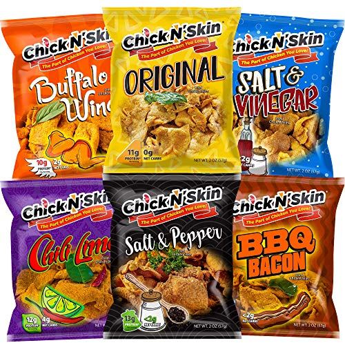 Chick N' Skin Fried Chicken Skins - Variety Pack (6 Count) Original  Chili Lime  BBQ Bacon  Salt & Vinegar  Salt & Pepper  Buffalo Wing   Crispy Keto Low Carb High Protein Snacks  Made in US 2oz