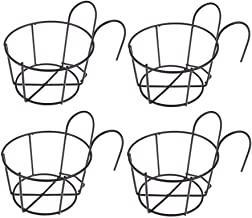 4 Pack Hanging Railing Planters Flower Pot Holders Plant Iron Racks Fence Metal Potted Stand Mounted Balcony Round Plant B...