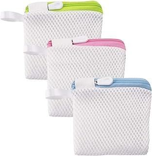 Haelsty 洗濯洗剤ネット 粉石鹸ネット 粉せっけん ネット 洗濯ネット 小 溶け残りが衣類につかない 除菌 マグネシウム ネット 3個セット (スクエア/カラー)