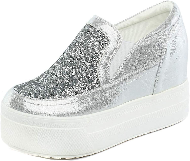 T-JULY Wedge Platform High Heel Loafers for Women Sparkle Glitter Sequins Slip-on Leisure Dress Comfy Lazy shoes