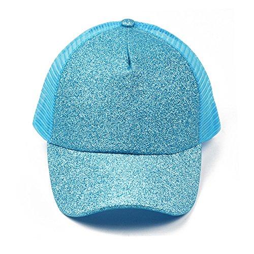 EVFIT Polo-Stil-Kappe Classic Wild Sequined Fluoreszierende Baseballmütze mit einem Pferdeschwanzdesign und Einer glänzenden Netzkappe. (Color : Blue)