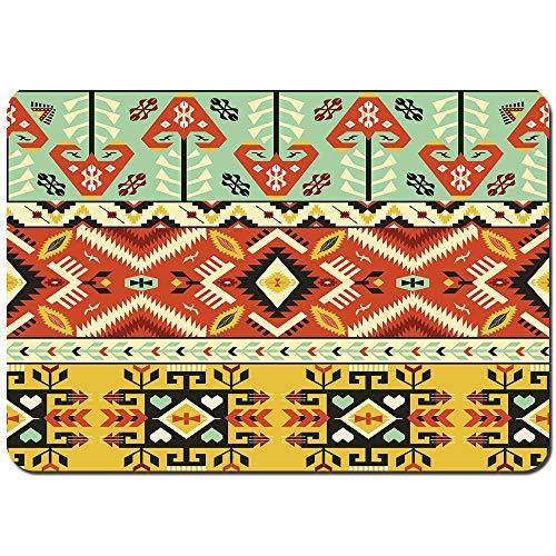 kThrones Antideslizante Alfombra De Baño,patrón étnico Estilo Mexicano,Alfombra de Cocina Alfombra Mascota,Alfombras de Ducha 75x45cm