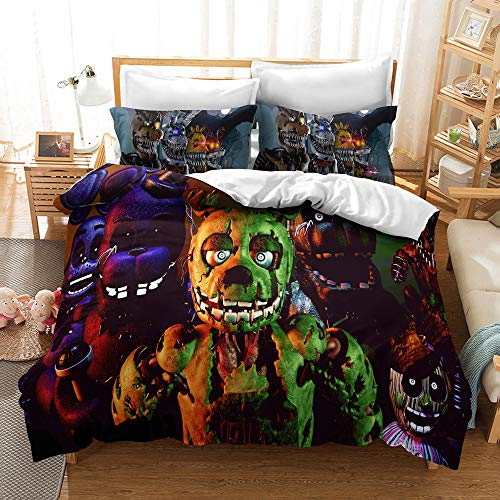 Enhome Duvet Cover Bedding Set for Single Double King Size Bed, 3D Halloween Print Microfiber Duvet Set Quilt Case with Pillowcases (Five Nights at Freddy's1,135x200cm(2pc))