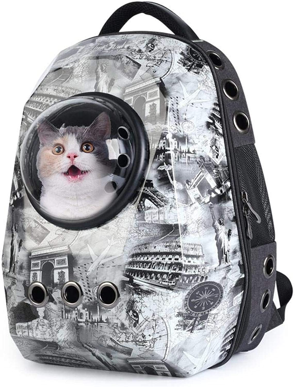 HoneybeeLY Portable Travel Pet Carrier Backpack with Visual Window & Ventilated Holes Design for Cat and Small Dog, Innovative Space Capsule Bubble and AntiEscape Lock Design