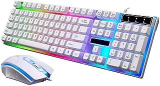 mini2x 2020年 最新型モデル ゲーミング キーボード マウス キーマウ セット 一式 Gタイプ ホワイト 白 USB 有線 レインボー LED 耐用 ゲーム e-Sports プロ ゲーマー PS4 プレステ4 荒野行動 対応 初心者...