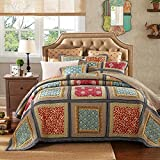 YAYIDAY Tagesdecke Bettüberwurf Baumwolle Quilt für Doppelbett Patchwork Gesteppt Steppdecke / 230 x 250 cm (Khaki Queen)