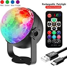 Party Lights, InnooLight Rechargeable Disco Lights 4 Colours RGBP DJ Lights, Remote Control Music Activated RGB led lights Magic Rotating stage lighting for Home Room Dance Parties, Bar Karaoke, Xmas Party, Wedding Show Club