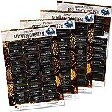 117 Gewürzetiketten Feinschmecker Edition XL - Gewürzaufkleber, Mehl Salz & Zucker wasserfest für Gläser, Dosen und Regale (weiß/schwarz)