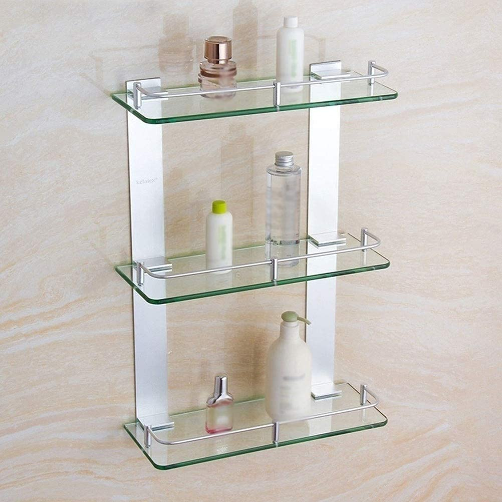 Perportu-min Super beauty product restock quality top! 7mm Max 53% OFF Glass Shelf 3 Hanging Bathro Shower Tiers Caddy