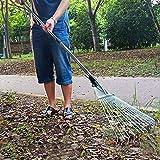 熊手 レーキ ステンレス鋼 ガーデンレーキ 伸縮式 ガーデンクリーナー グラスレーキ 落葉掃き 芝生と庭をすばやく掃除する ガーデニング 清掃草刈り 草熊手 調整可能 草用具 折りたたみ葉 無臭と無毒 ガーデンツール