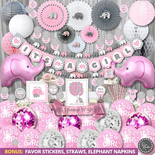 198 Piece Premium Jumbo Elephant Baby Shower Decorations for Girls Kit | It's A Girl | Banner, Napkins, Straws, Paper Lanterns, Honeycomb Balls, Fans, Cake Toppers, Sash, Balloons, | Pink Grey White