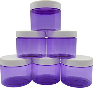 Original Stationery Slime Containers with Lids 6 Ounce [Perfect Slime CONTAINERS No BPA's Safe for Kids] Small Plastic Storage Jars Screw Top, [for Any Slime Maker] (Clear Purple)