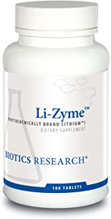 Biotics Research Li-Zyme™– 50 mcg. Lithium as a Whole Food, phytochemically-Bound Lithium. Highly bioavailable. Supports Brain Function. Memory and Mood Support.100 Tablets