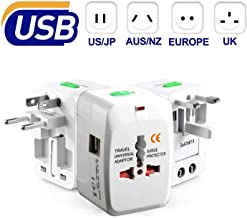 Case Plus Latest Universal Adapter Worldwide Travel Adapter with Built in Dual USB Charger Ports (1 Year warrenty) (Universal Travel Adapter-1 Pack) (Universal Travel Adapter with USB - 2 Pack)