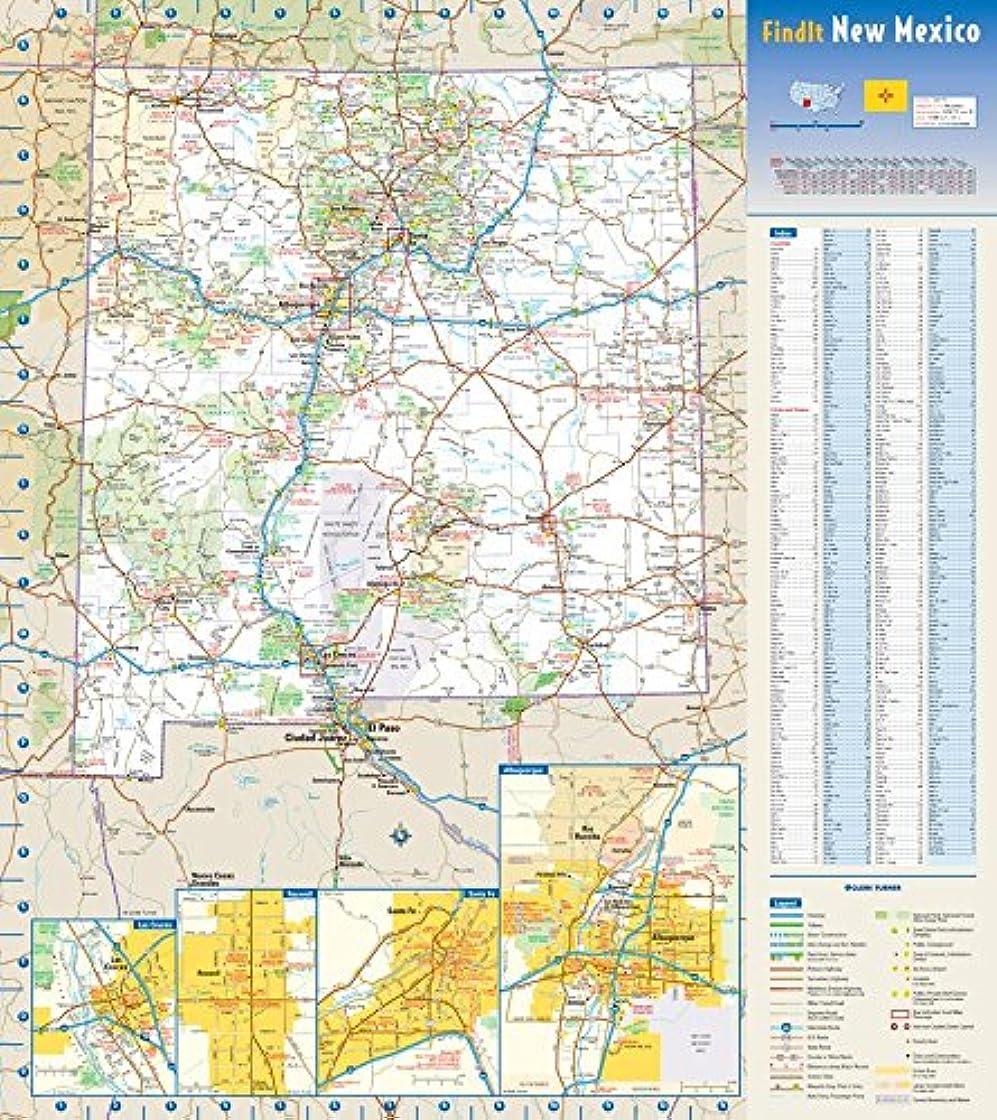テレマコスバラ色カスタムニューメキシコ州壁地図 - 18.5インチ x 20.75インチ ペーパー