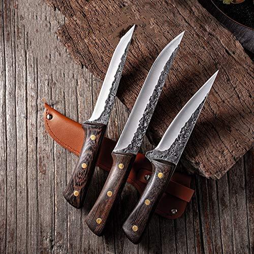 Juego de Cuchillos de Cocina El matar de cuchillos for Sacrificio cuchillo de Damasco del acero inoxidable de cerdo Puesto de carnicero (Color : 3 pcs)