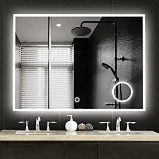 NeuType Large LED Mirrors Wall Mounted Bathroom Mirrors Dimmable Lighting Mirror with Built-in Circular Magnifier 3 Times Magnification for Cosmetic Vanity Makeup or Shaving,Touch Button(36