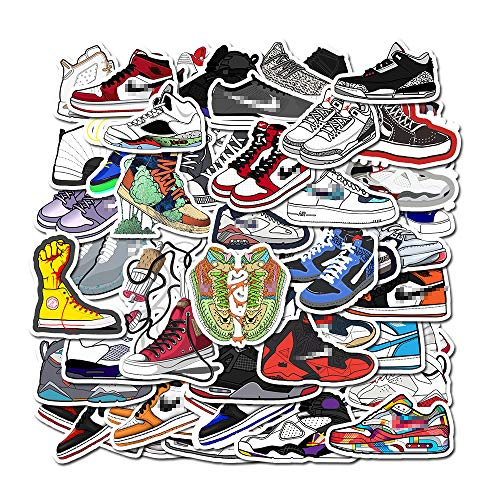 50 Pcs Cool Sports Shoes Basketball Shoes Stickers for Air Jordan Laptop Water Bottle Phone Computer Skateboard Hydroflask Fashion Brand AJ Sneaker Viny Sticker Waterproof Decals for Teens Adults Boys
